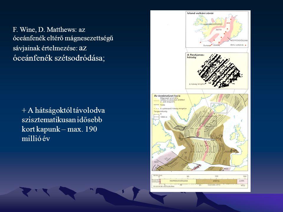 F. Wine, D. Matthews: az óceánfenék eltérő mágnesezettségű sávjainak értelmezése: az óceánfenék szétsodródása;