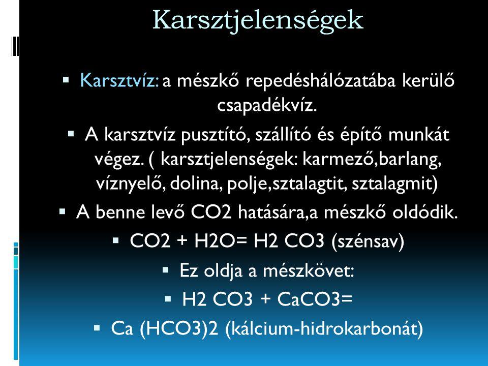 Karsztjelenségek Karsztvíz: a mészkő repedéshálózatába kerülő csapadékvíz.