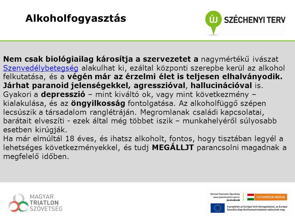 Alkoholfogyasztás Nem csak biológiailag károsítja a szervezetet a nagymértékű ivászat.
