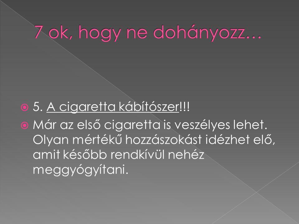 7 ok, hogy ne dohányozz… 5. A cigaretta kábítószer!!!