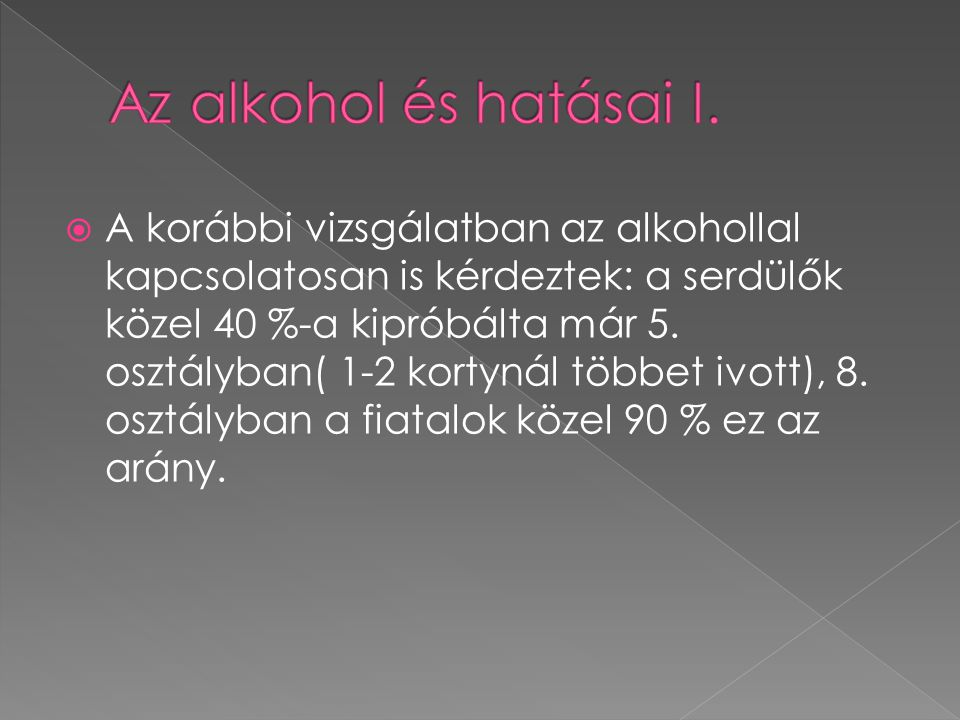 Az alkohol és hatásai I.