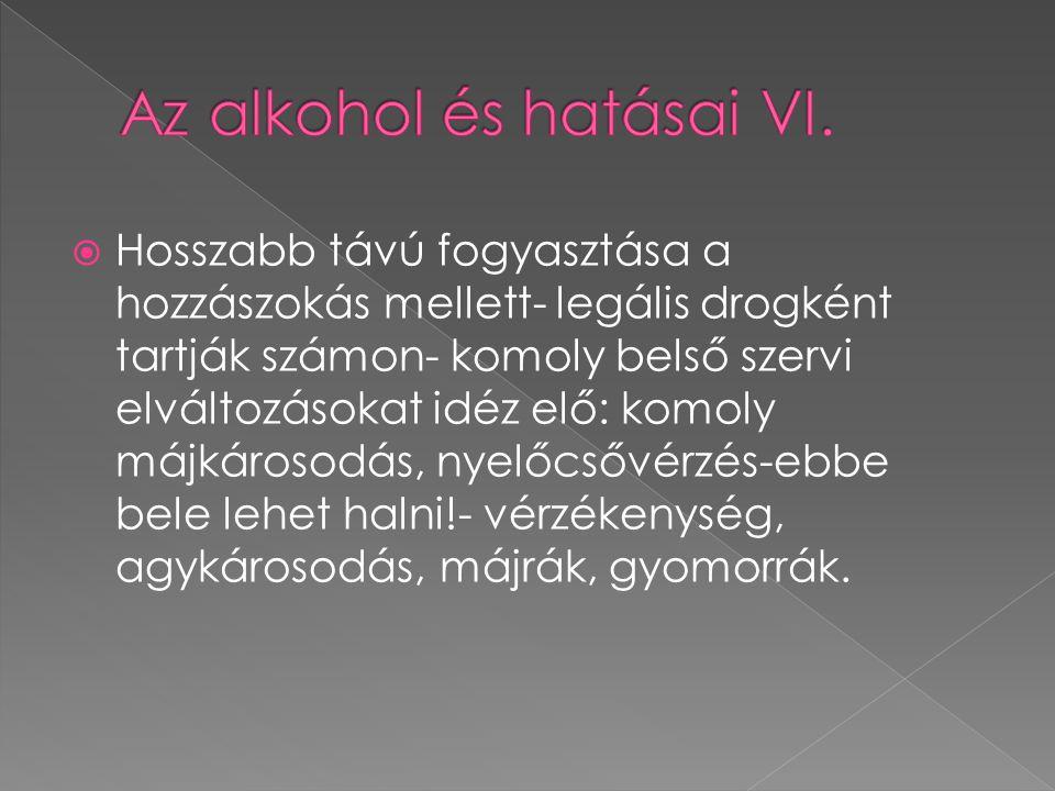 Az alkohol és hatásai VI.