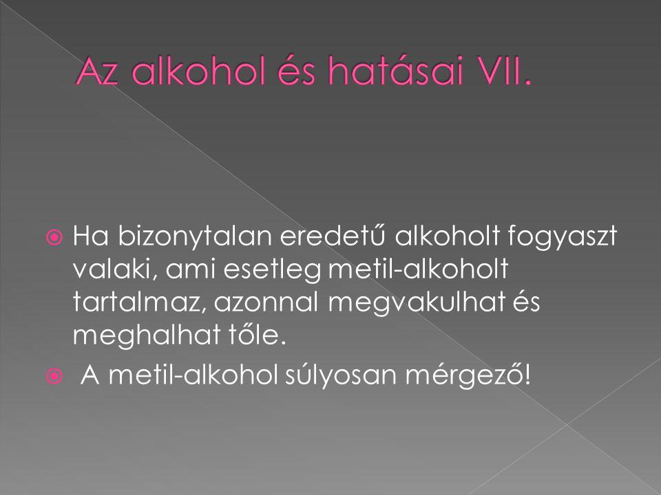 Az alkohol és hatásai VII.