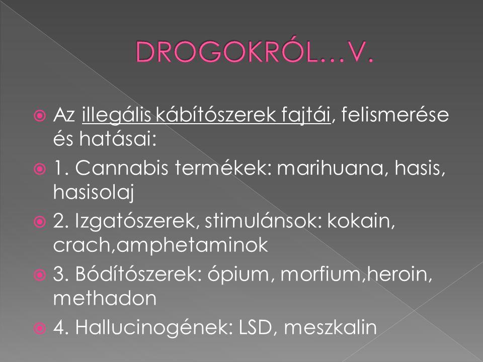 DROGOKRÓL…V. Az illegális kábítószerek fajtái, felismerése és hatásai: