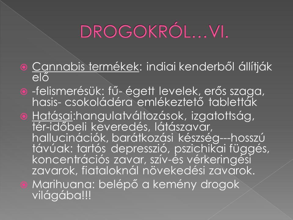 DROGOKRÓL…VI. Cannabis termékek: indiai kenderből állítják elő