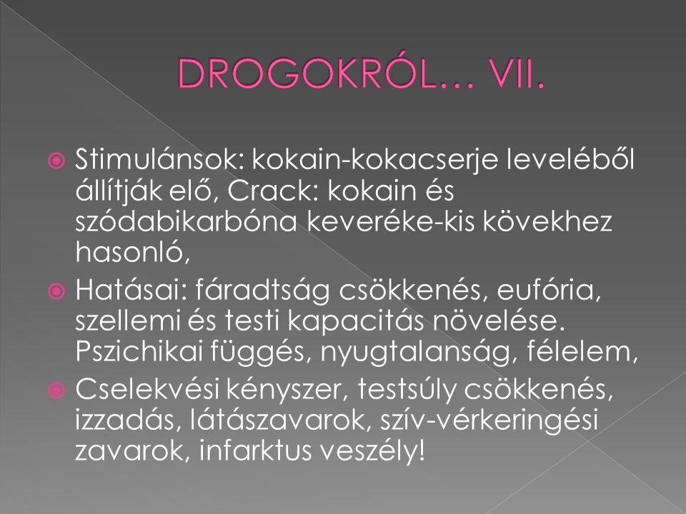 DROGOKRÓL… VII. Stimulánsok: kokain-kokacserje leveléből állítják elő, Crack: kokain és szódabikarbóna keveréke-kis kövekhez hasonló,