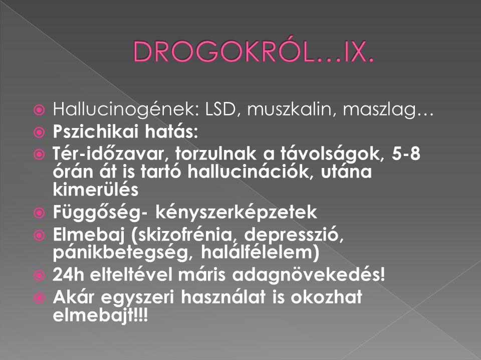 DROGOKRÓL…IX. Hallucinogének: LSD, muszkalin, maszlag…