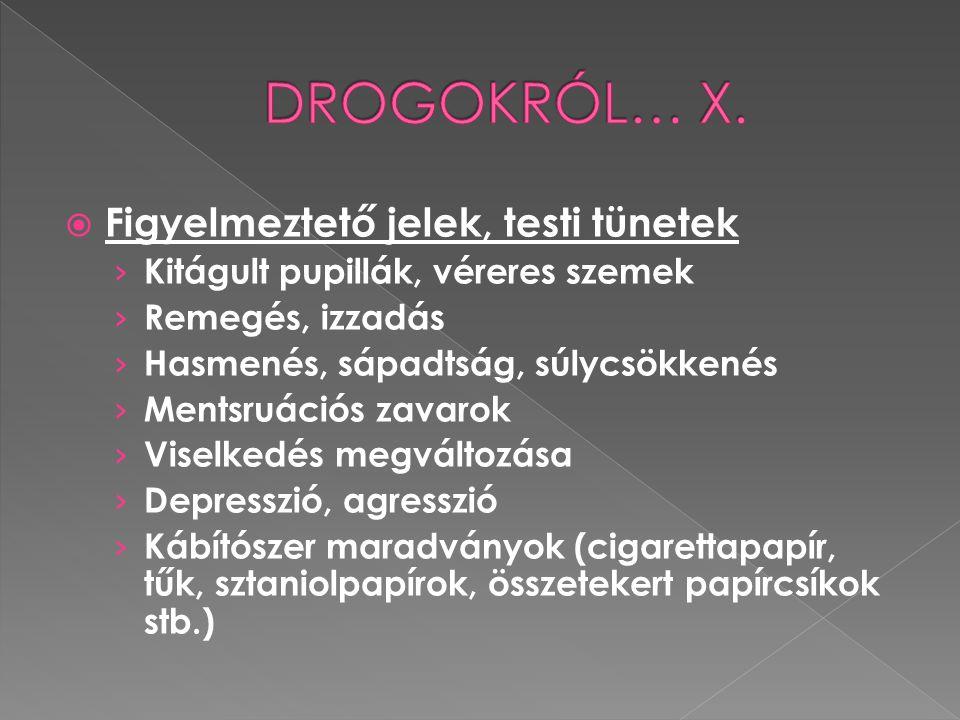 DROGOKRÓL… X. Figyelmeztető jelek, testi tünetek