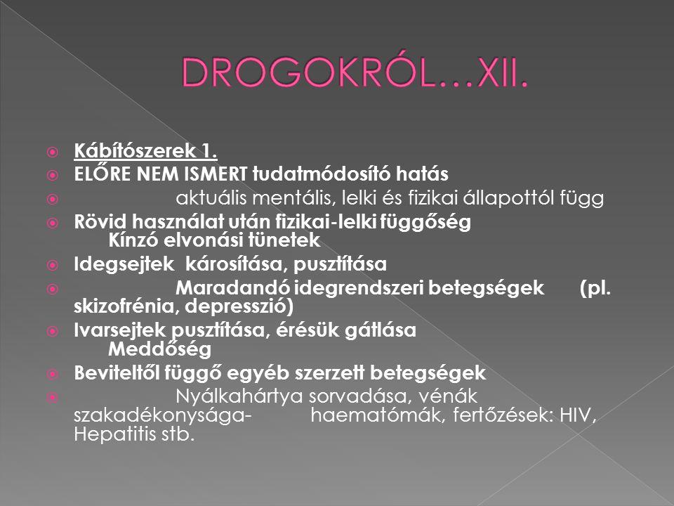 DROGOKRÓL…XII. Kábítószerek 1. ELŐRE NEM ISMERT tudatmódosító hatás