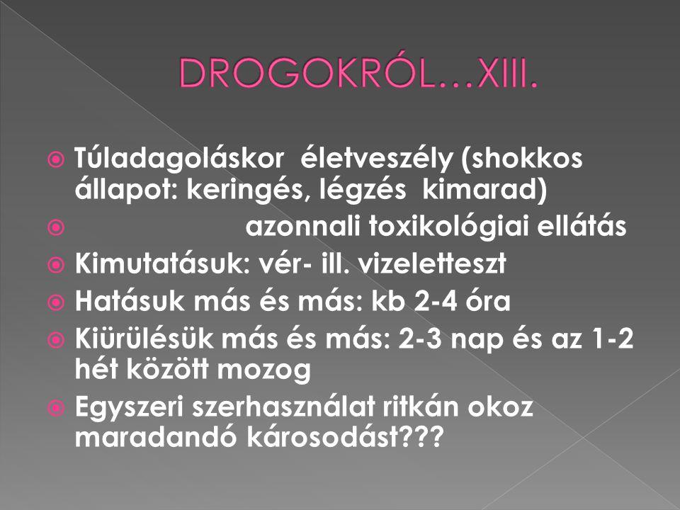 DROGOKRÓL…XIII. Túladagoláskor életveszély (shokkos állapot: keringés, légzés kimarad) azonnali toxikológiai ellátás.