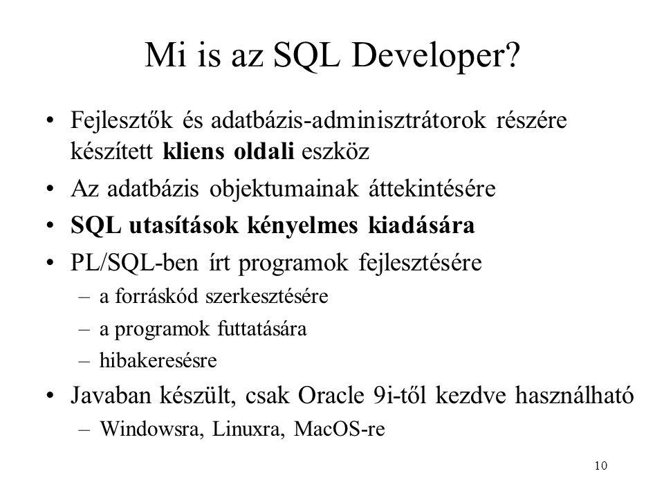 Mi is az SQL Developer Fejlesztők és adatbázis-adminisztrátorok részére készített kliens oldali eszköz.