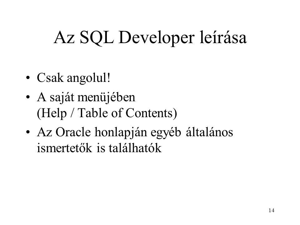 Az SQL Developer leírása