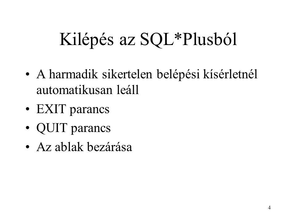 Kilépés az SQL*Plusból