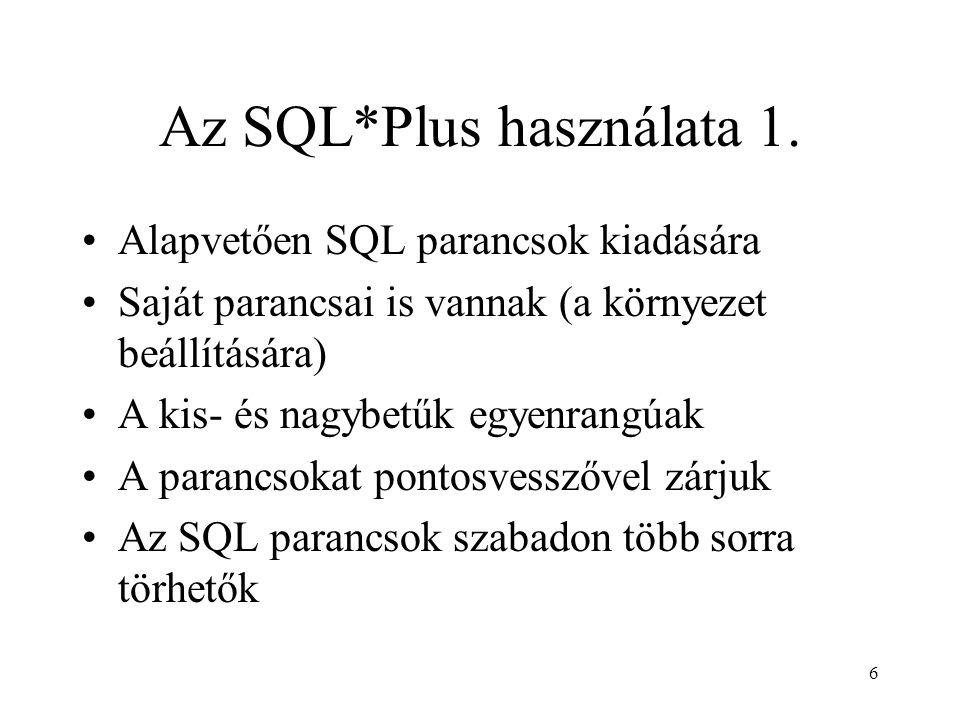 Az SQL*Plus használata 1.