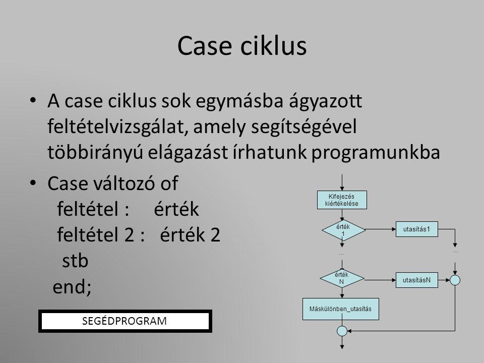 Case ciklus A case ciklus sok egymásba ágyazott feltételvizsgálat, amely segítségével többirányú elágazást írhatunk programunkba.