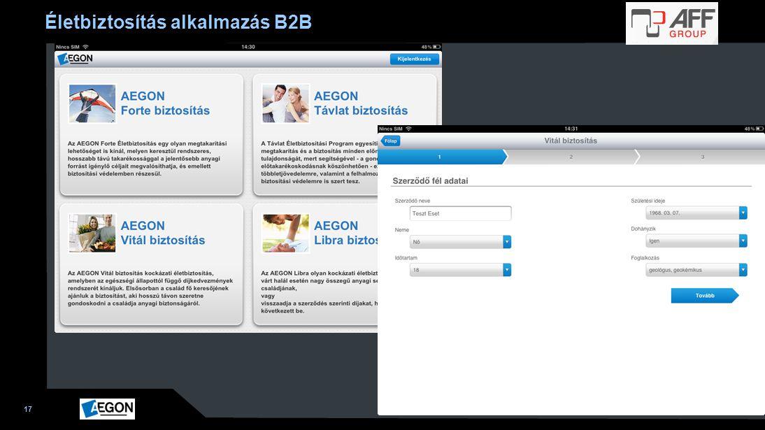 Életbiztosítás alkalmazás B2B