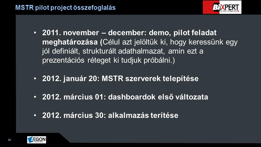 MSTR pilot project összefoglalás