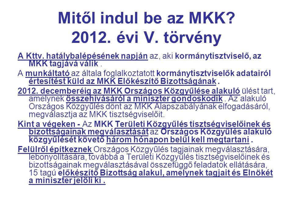Mitől indul be az MKK 2012. évi V. törvény
