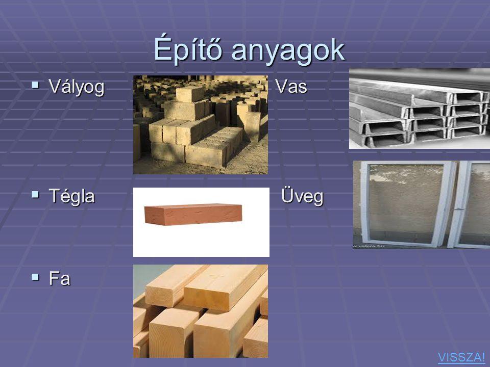 Építő anyagok Vályog Vas Tégla Üveg Fa VISSZA!