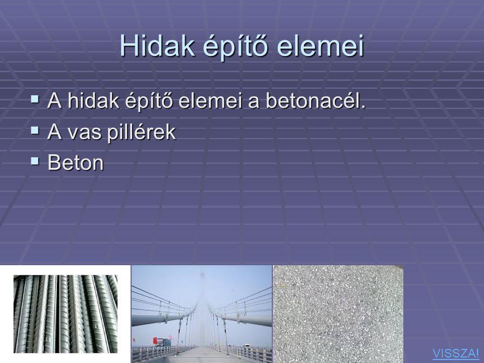 Hidak építő elemei A hidak építő elemei a betonacél. A vas pillérek