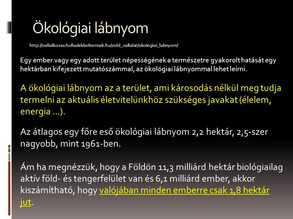 Ökológiai lábnyom http://vallalkozas.hulladekboltermek.hu/zold_vallalat/okologiai_labnyom/