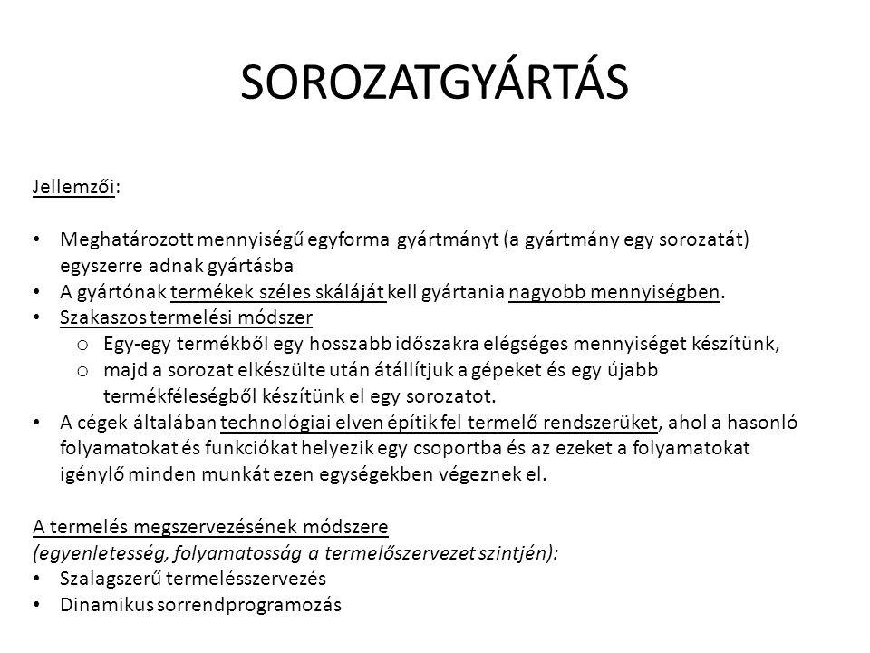 SOROZATGYÁRTÁS Jellemzői: