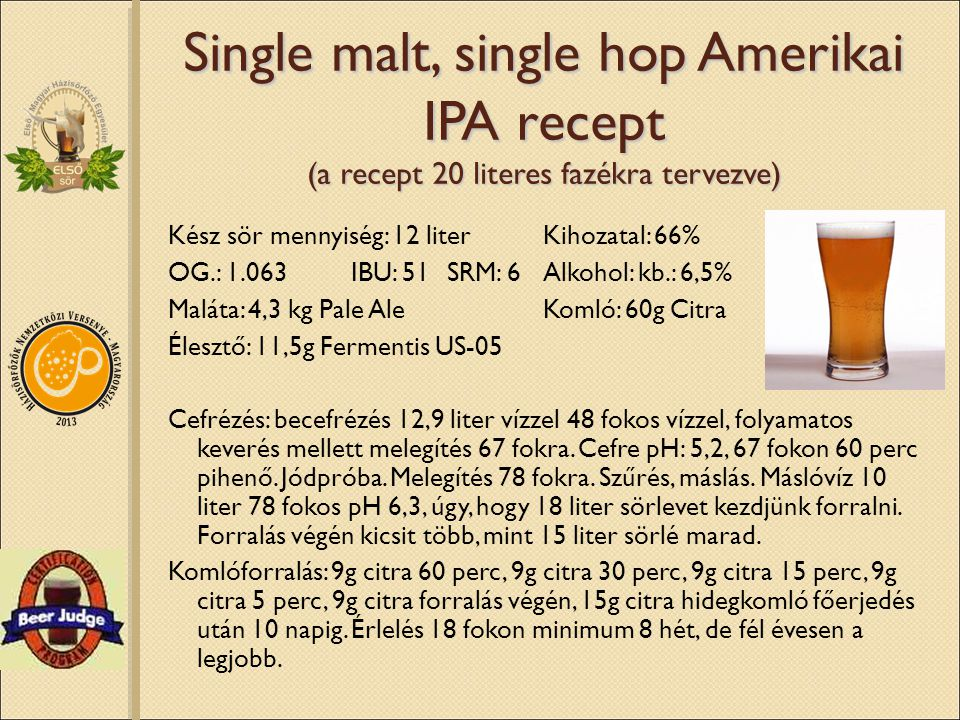 Single malt, single hop Amerikai IPA recept