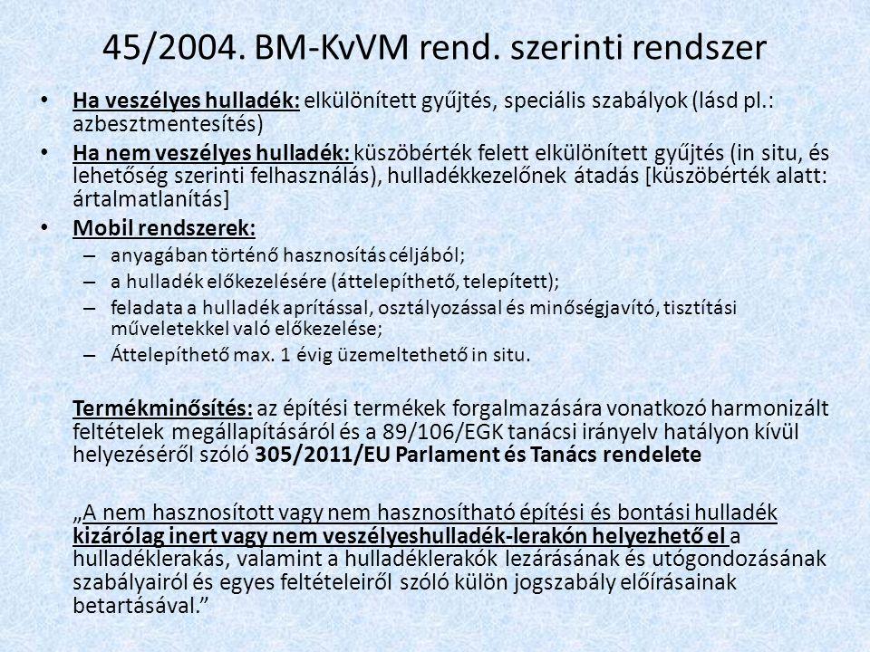 45/2004. BM-KvVM rend. szerinti rendszer