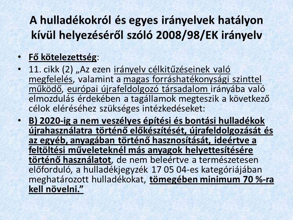 A hulladékokról és egyes irányelvek hatályon kívül helyezéséről szóló 2008/98/EK irányelv