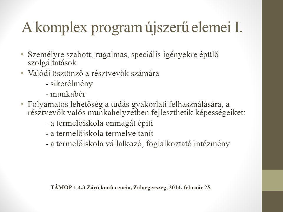 A komplex program újszerű elemei I.