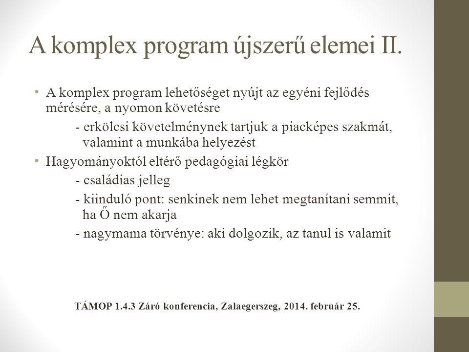 A komplex program újszerű elemei II.