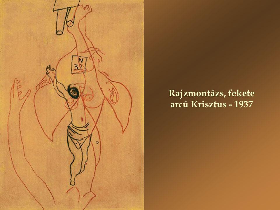 Rajzmontázs, fekete arcú Krisztus - 1937