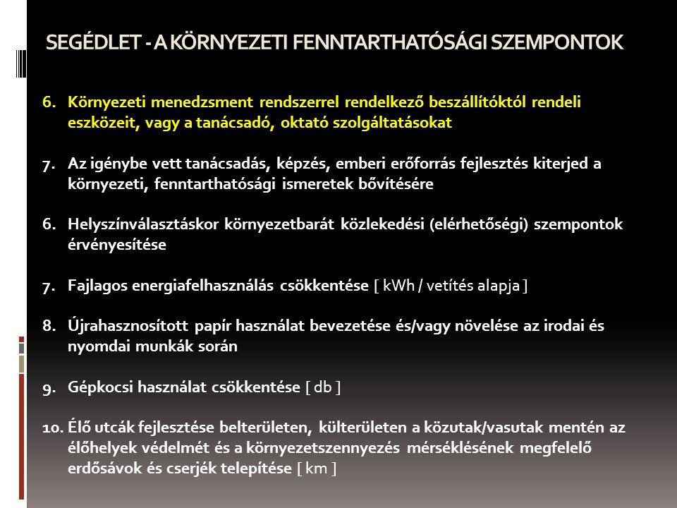 SEGÉDLET - A KÖRNYEZETI FENNTARTHATÓSÁGI SZEMPONTOK