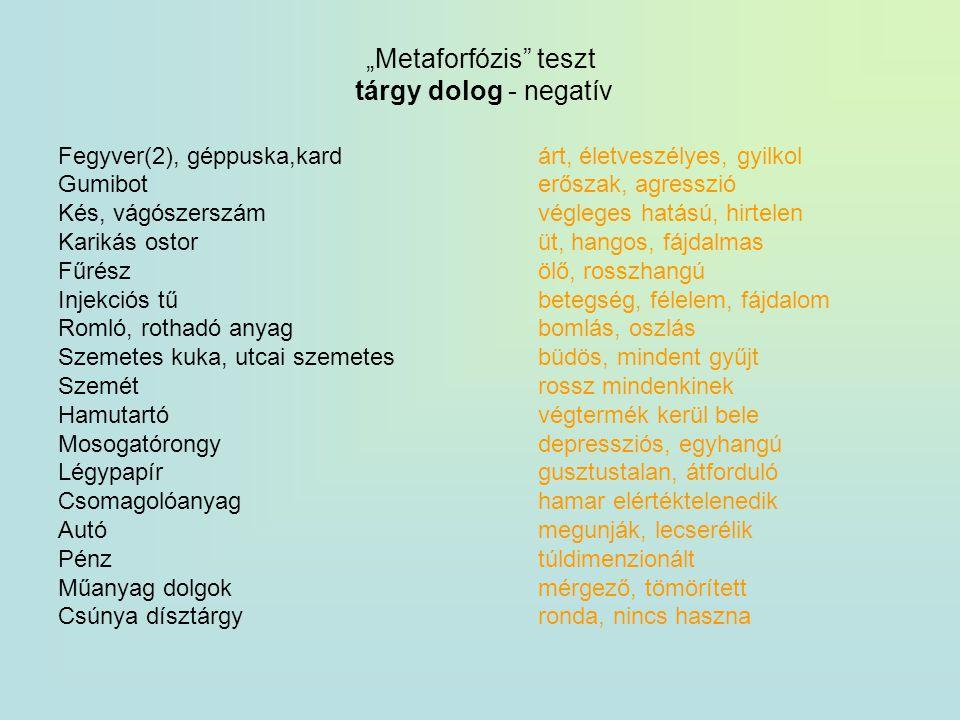 """""""Metaforfózis teszt tárgy dolog - negatív"""