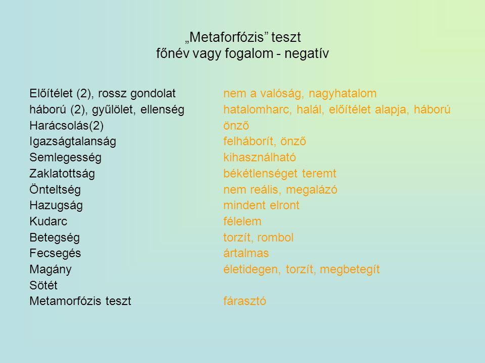 """""""Metaforfózis teszt főnév vagy fogalom - negatív"""