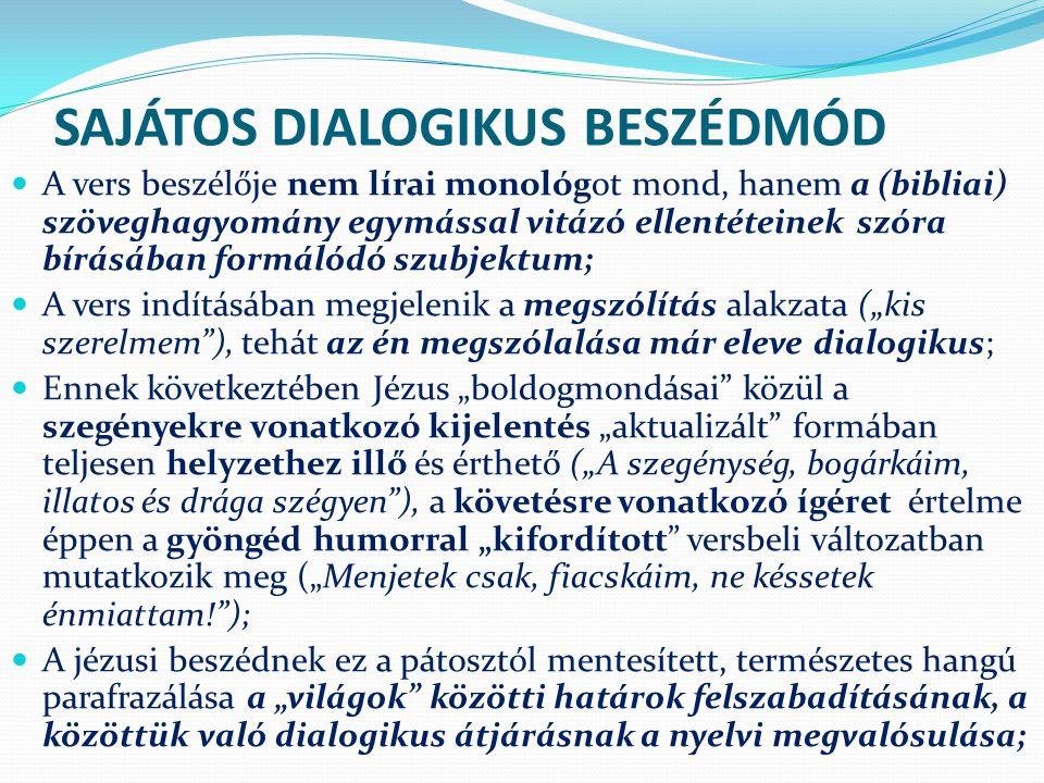 SAJÁTOS DIALOGIKUS BESZÉDMÓD