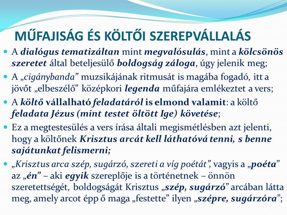 MŰFAJISÁG ÉS KÖLTŐI SZEREPVÁLLALÁS