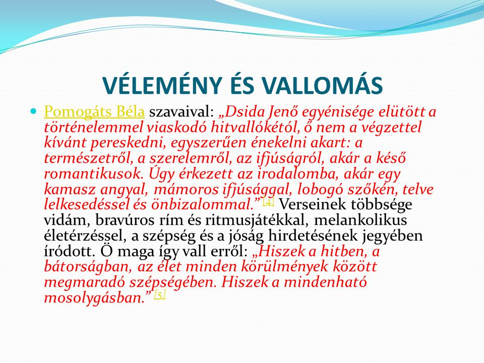VÉLEMÉNY ÉS VALLOMÁS