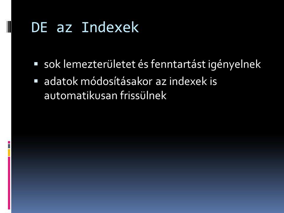 DE az Indexek sok lemezterületet és fenntartást igényelnek