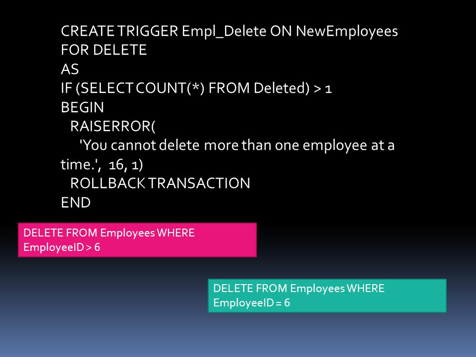 CREATE TRIGGER Empl_Delete ON NewEmployees FOR DELETE AS
