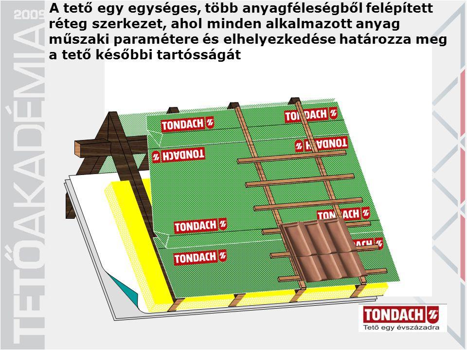A tető egy egységes, több anyagféleségből felépített réteg szerkezet, ahol minden alkalmazott anyag műszaki paramétere és elhelyezkedése határozza meg a tető későbbi tartósságát