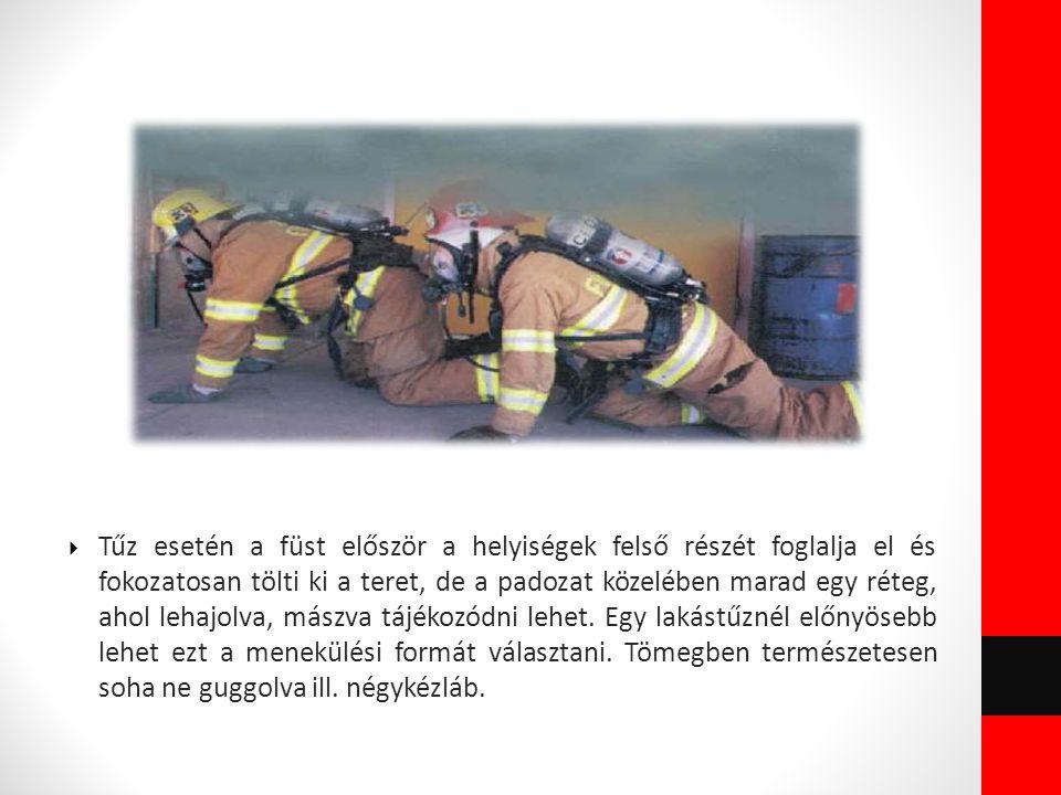 Tűz esetén a füst először a helyiségek felső részét foglalja el és fokozatosan tölti ki a teret, de a padozat közelében marad egy réteg, ahol lehajolva, mászva tájékozódni lehet.