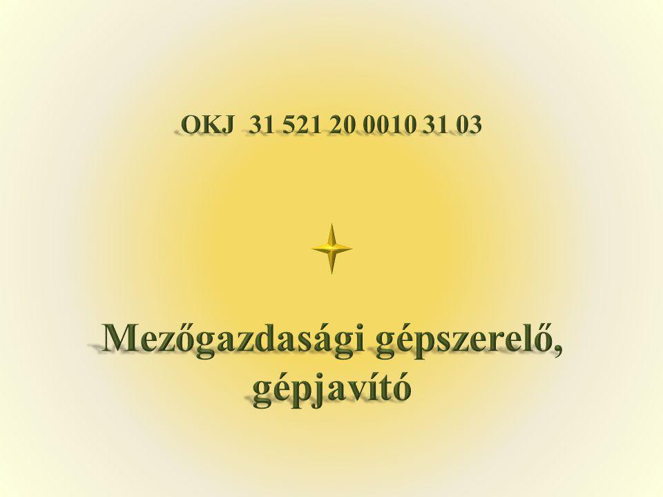 OKJ 31 521 20 0010 31 03 Mezőgazdasági gépszerelő, gépjavító