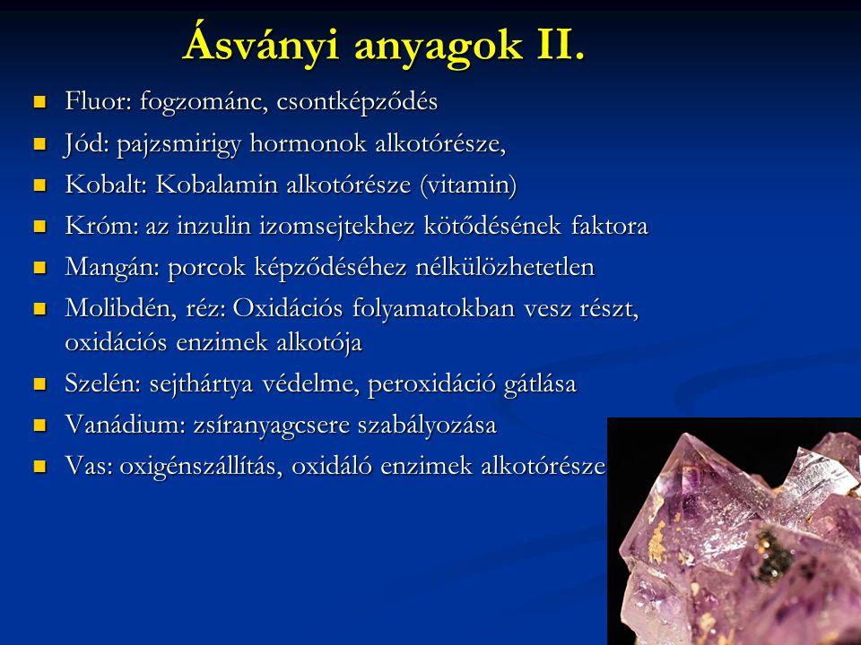 Ásványi anyagok II. Fluor: fogzománc, csontképződés