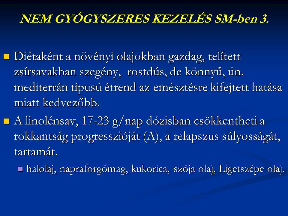 NEM GYÓGYSZERES KEZELÉS SM-ben 3.