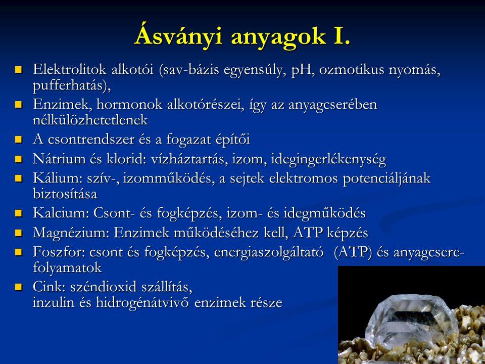 Ásványi anyagok I. Elektrolitok alkotói (sav-bázis egyensúly, pH, ozmotikus nyomás, pufferhatás),
