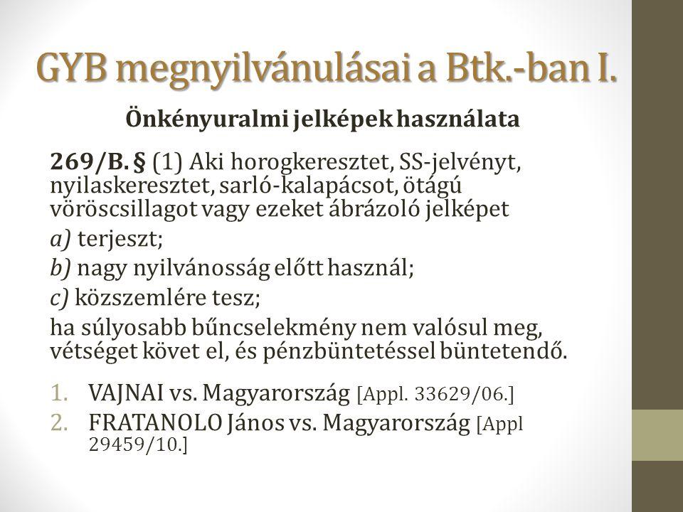 GYB megnyilvánulásai a Btk.-ban I.