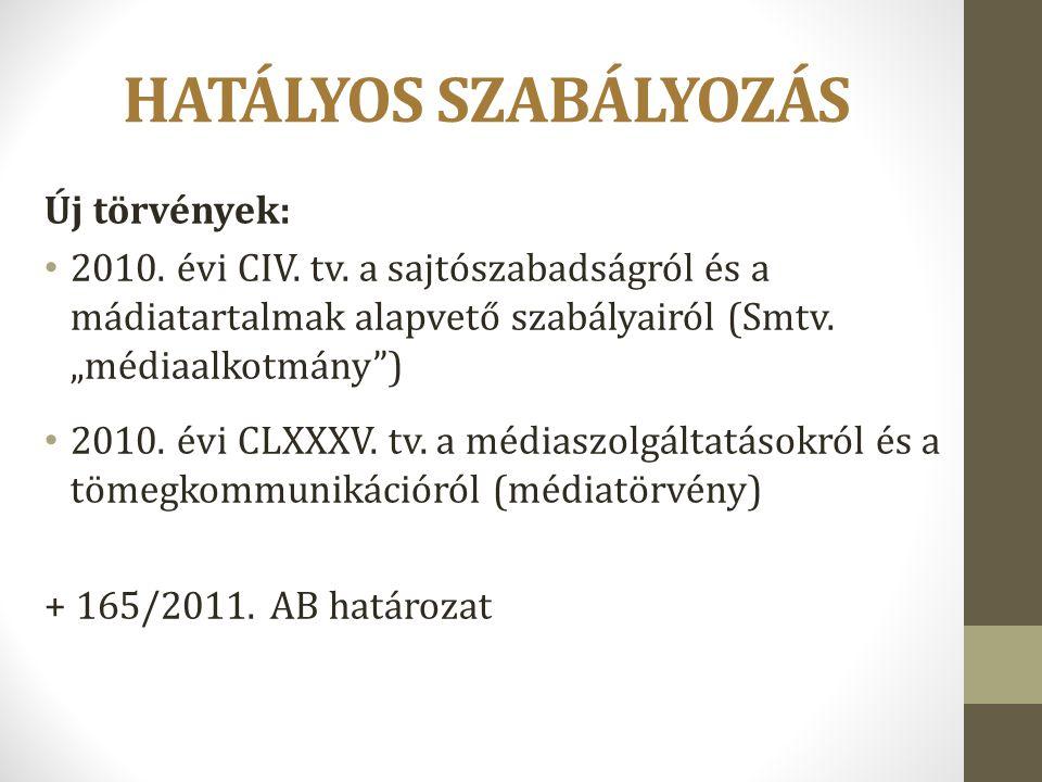 HATÁLYOS SZABÁLYOZÁS Új törvények: