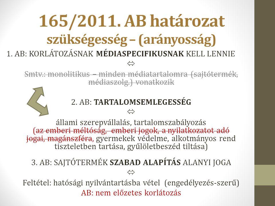 165/2011. AB határozat szükségesség – (arányosság)
