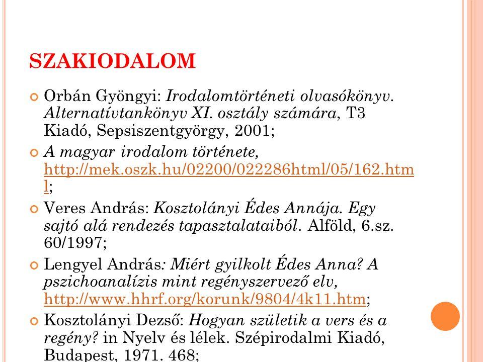 SZAKIODALOM Orbán Gyöngyi: Irodalomtörténeti olvasókönyv. Alternatívtankönyv XI. osztály számára, T3 Kiadó, Sepsiszentgyörgy, 2001;